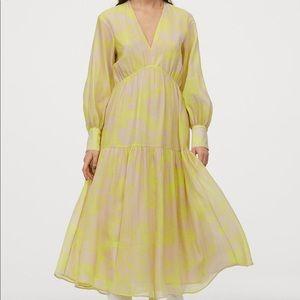 H&M Lyocell Blend Dress Neon Yellow